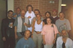 Band Gruppenfoto zusammen mit Jethro Tull als Support auf der Deutschland-Tour